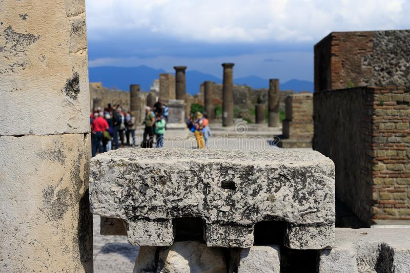 Ruins of Pompeii. The ruins of Pompeii are located near the modern town of Pompei and about 8 km away from Mount Vesuvius stock photo