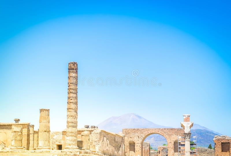 Ruins of Pompeii, Italy. Ruins of Pompeii with Vesuveus volcano in background, Italy , toned image royalty free stock photos