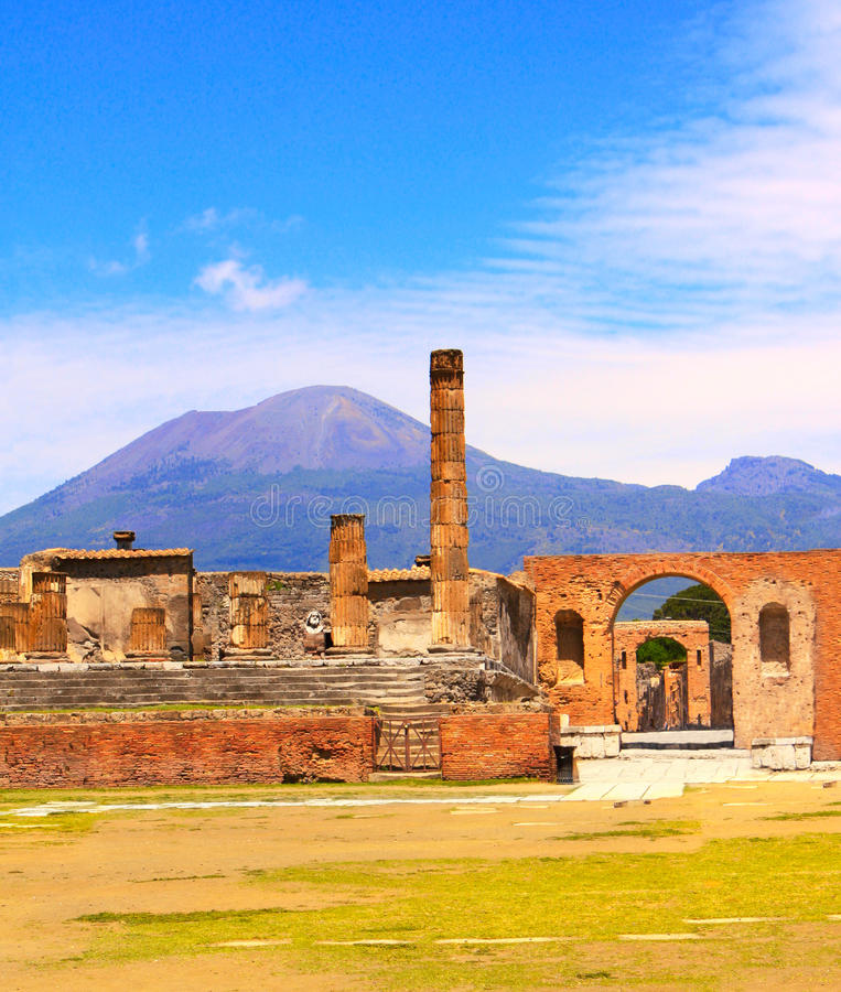 Ruins of Pompeii and volcano Mount Vesuvius stock photos