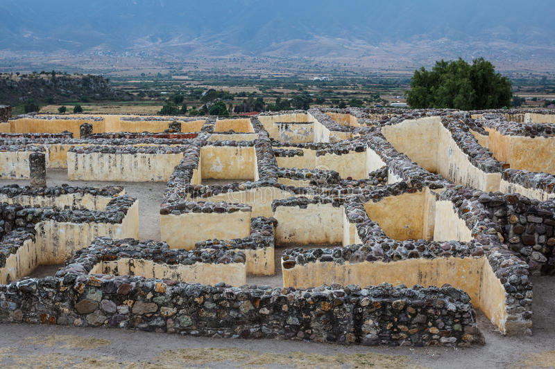Ruins of the pre-hispanic Zapotec town Yagul, Puebla. Mexico royalty free stock images