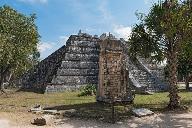 Ruins, pyramid and temples in Chichen Itza, Yucatan, Mexico royalty free stock photos
