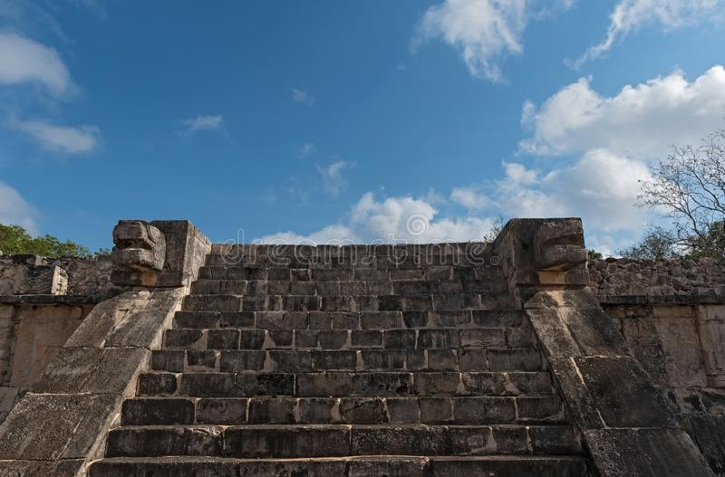Ruins, pyramid and temples in Chichen Itza, Yucatan, Mexico royalty free stock photography
