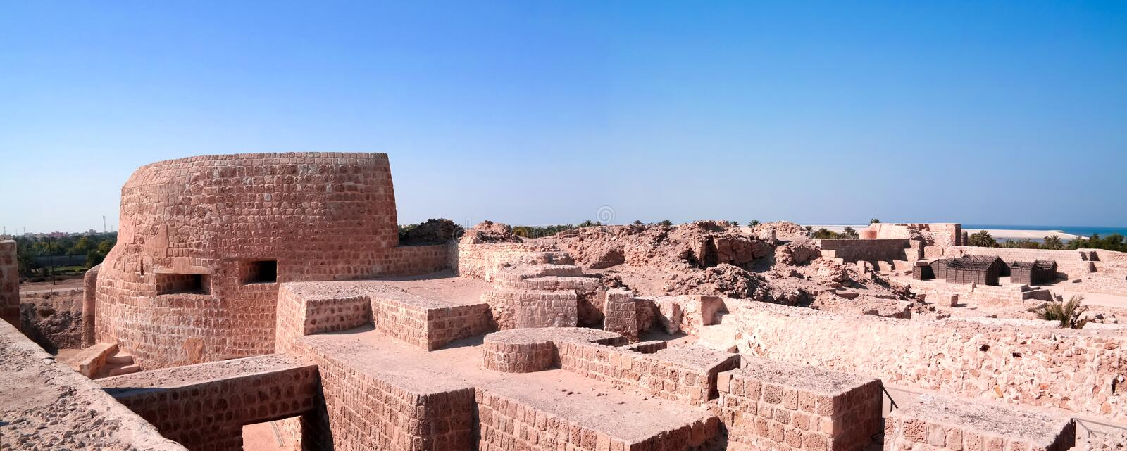 Ruins of Qalat fort near Manama, Bahrain. Ruins of Qalat fort near Manama in Bahrain royalty free stock photo