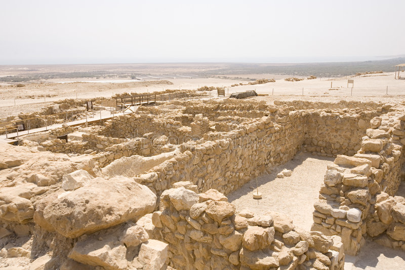 Ruins at Qumran. With Dead Sea in deep background royalty free stock photography