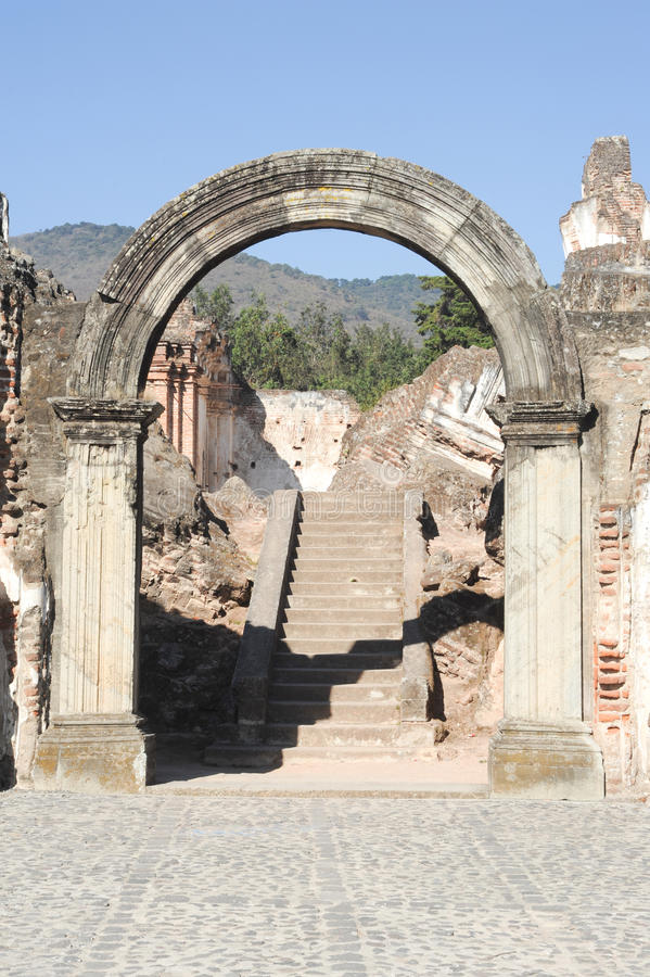 Ruins of the Recoleccion church at Antigua. On Guatemala stock images