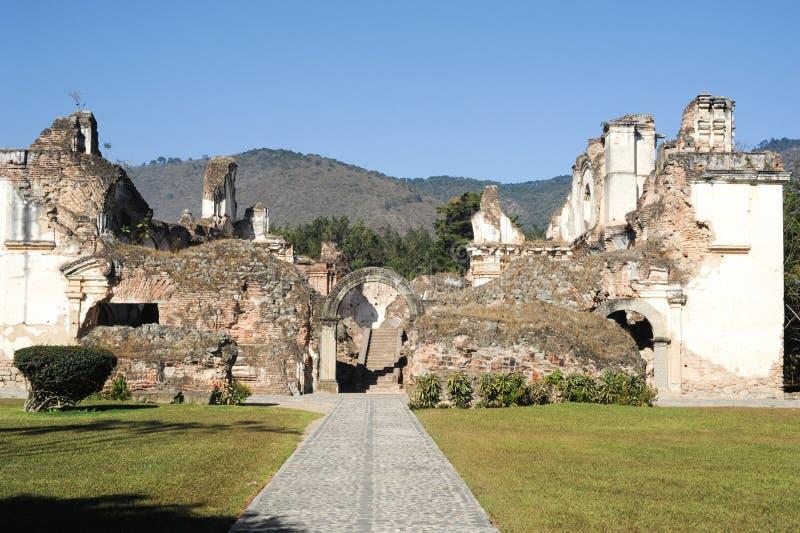 Ruins of the Recoleccion church at Antigua. On Guatemala royalty free stock photos