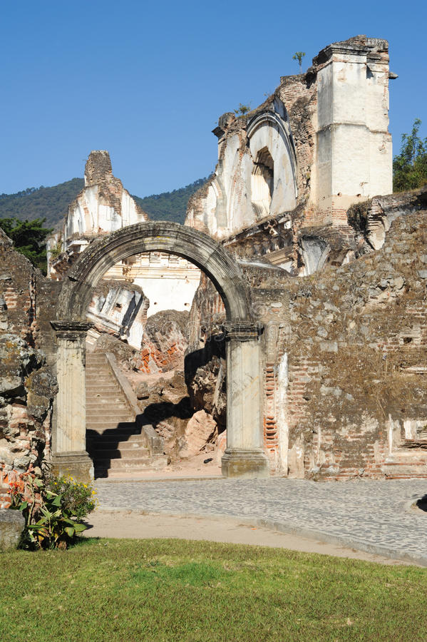 Ruins of the Recoleccion church at Antigua. On Guatemala stock image