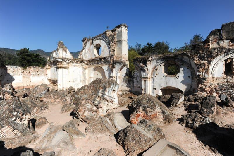 Ruins of the Recoleccion church at Antigua. On Guatemala stock photos