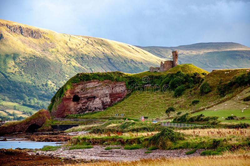 Ruins of Red Bay Castle in Northern Ireland, UK royalty free stock photo