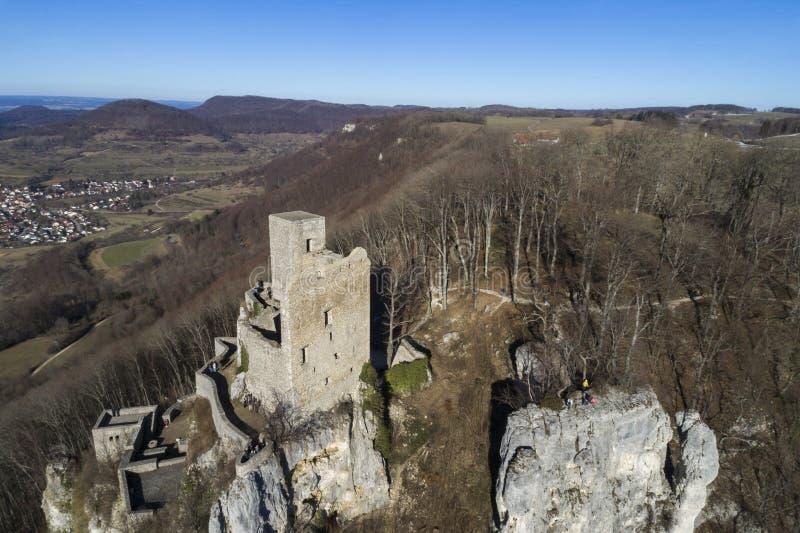 Ruins of Reussenstein Castle near Neidlingen, Swabian Alb, Germany. Europe - aerial view royalty free stock image