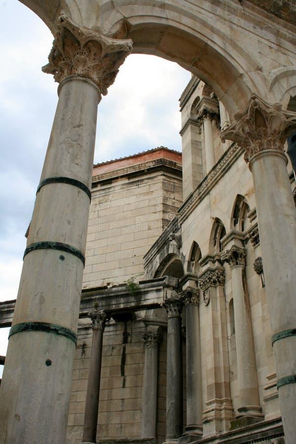 Ruins of Roman buildings, Diocletian`s palace in Split, Croatia royalty free stock photo
