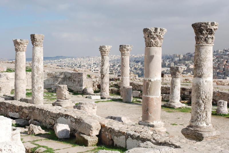 Ruins of the Roman Citadel in Amman. Ruins of the Roman Citadel with vieuw on Amman, Jordan, Middle-East stock images