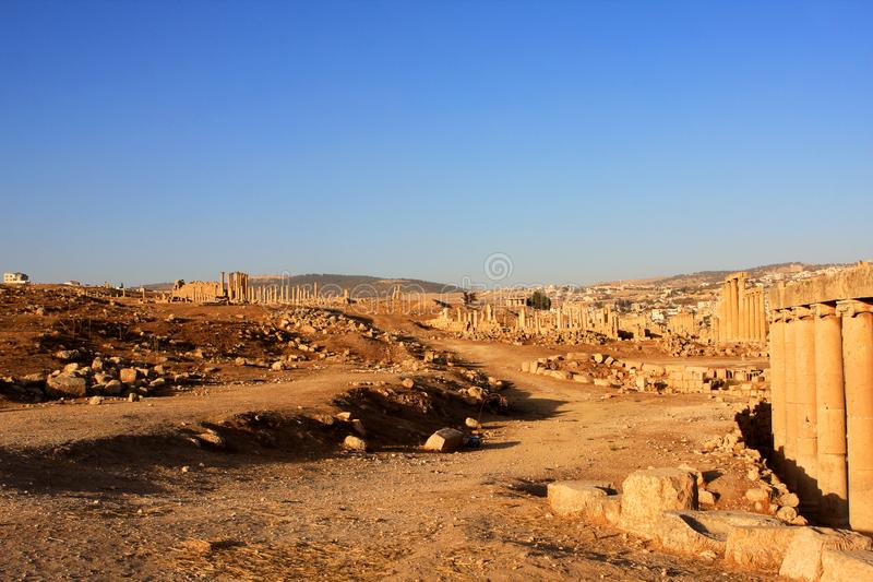 Jerash city, Jordan. Ruins of the Roman city of Gerasa, Jerash, Jordan stock image