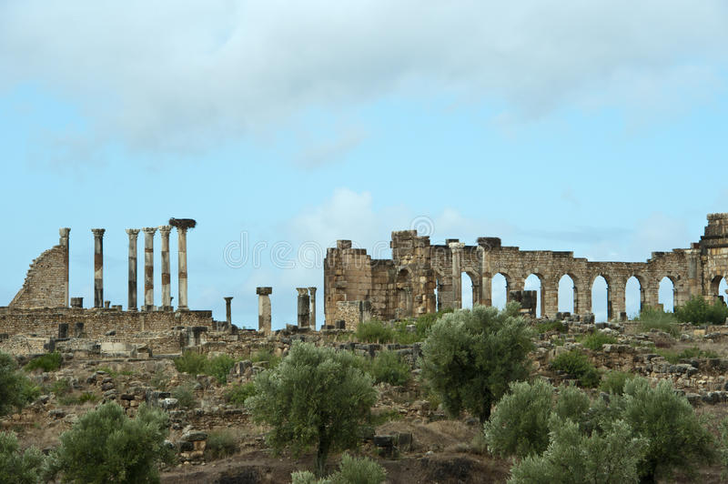 Ruins of the roman city Volubilis in Morocco. Parts of the ruins of the roman city Volubilis in Morocco with columns and arches royalty free stock photo
