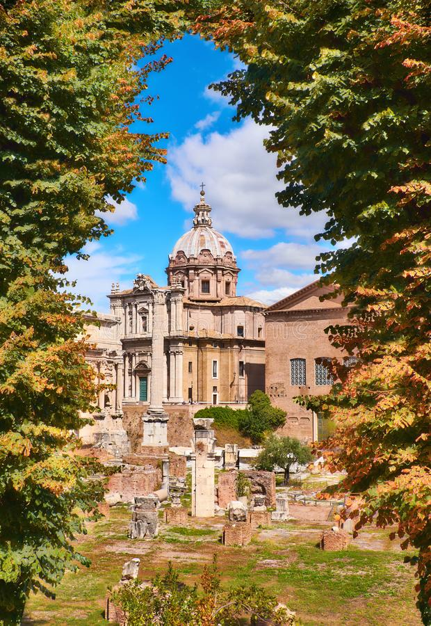 Roman Forum with the church of Santa Maria di Loreto in Rome, It royalty free stock image