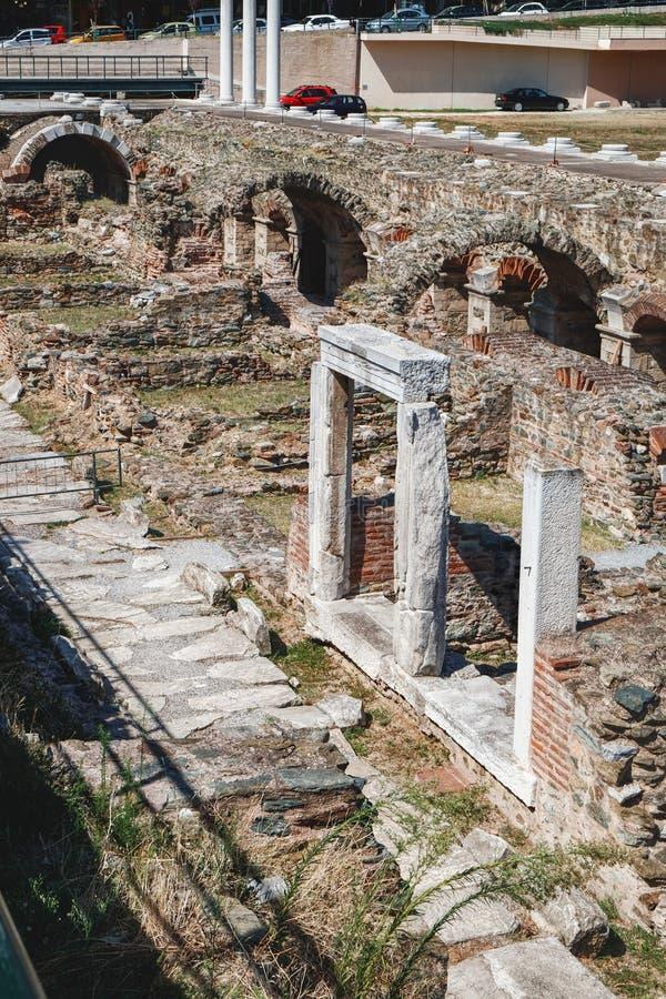Ruins of Roman forum in Thessaloniki, Greece stock photo