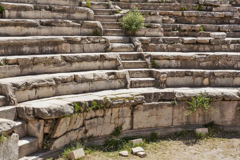 Ruins of roman odeum at ancient Ephesus. Selcuk in Izmir Province, Turkey. Ruins of roman odeum at ancient Ephesus. Selcuk in Izmir Province. Turkey stock photos