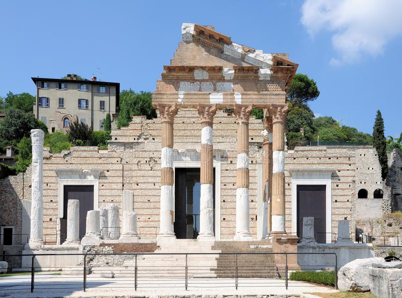 Ruins of the roman temple called Capitolium or Tempio Capitolino in Brescia Italy. Built by Vespasian in the year 73 AD stock photo