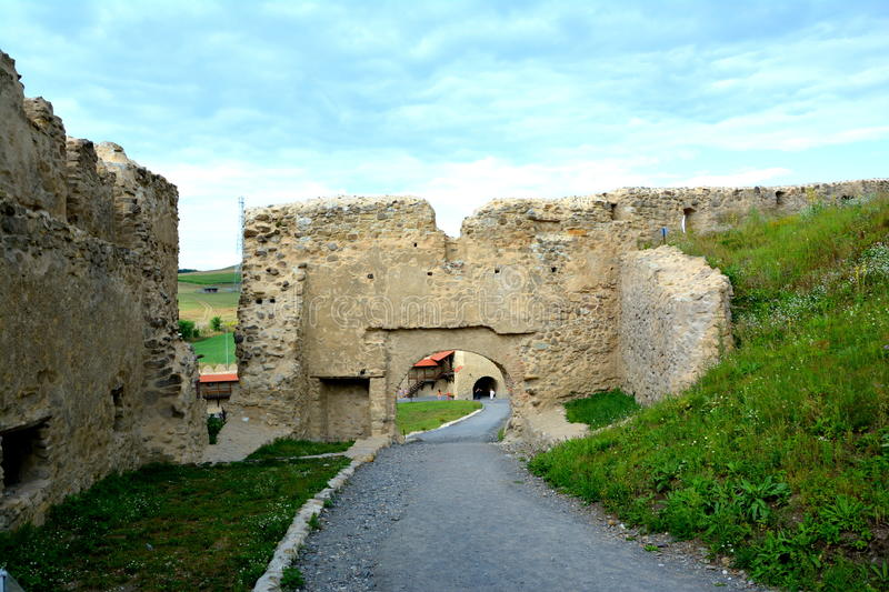 Ruins of Rupea (Reps) Fortress. Medieval vestiges. It was Dacian settlement (Rumidava) and later, during the Roman occupation, the name was changed to Rupes ( royalty free stock photo