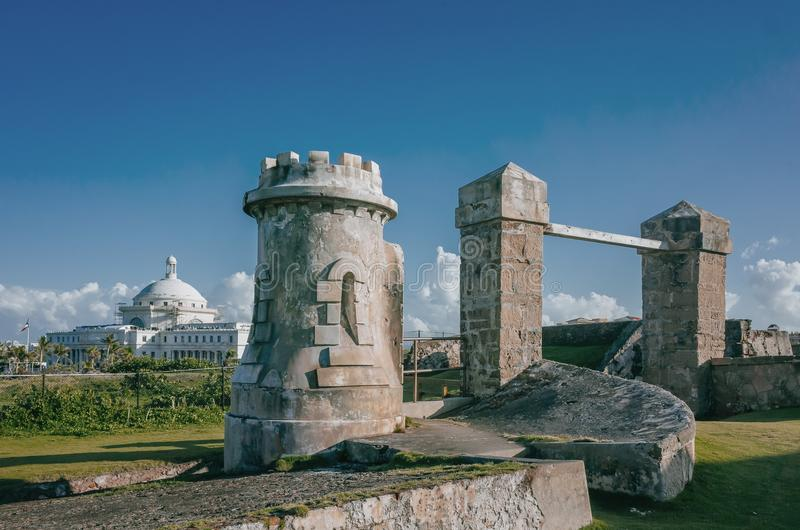 Ruins of San Cristobal Castle and the Puerto Rico Capitol in Old stock images