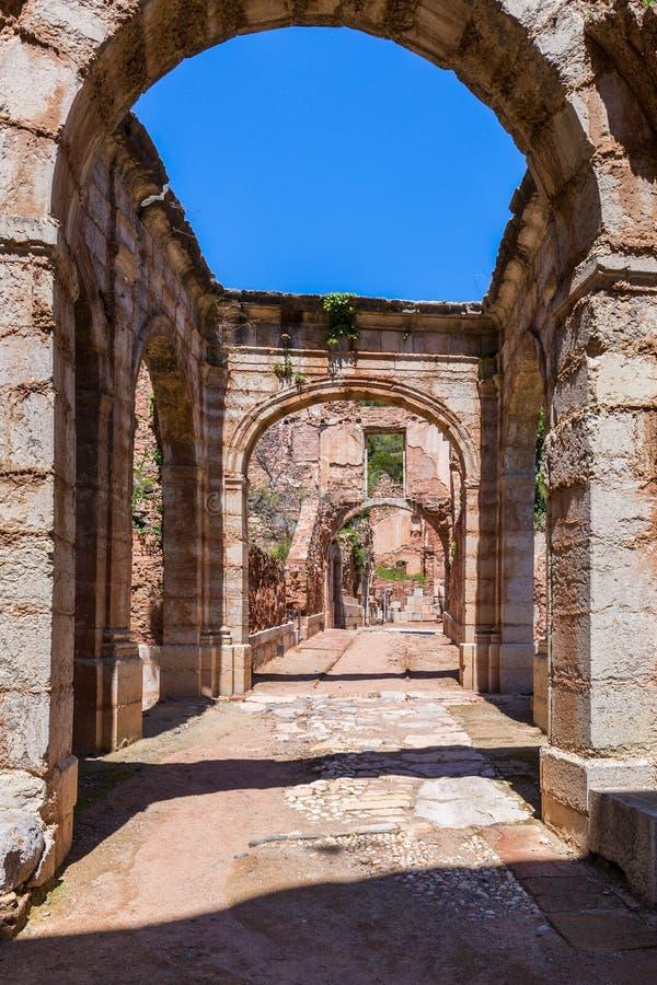 Ruins of Scala Dei, a medieval Monastery in Catalonia stock photo