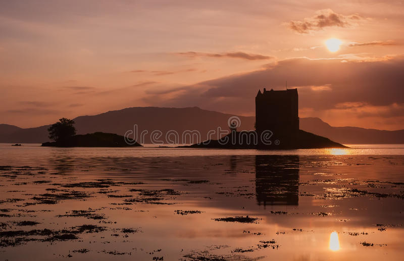 Ruins Scottish Castle Stalker at sunset. In beautiful colors royalty free stock image