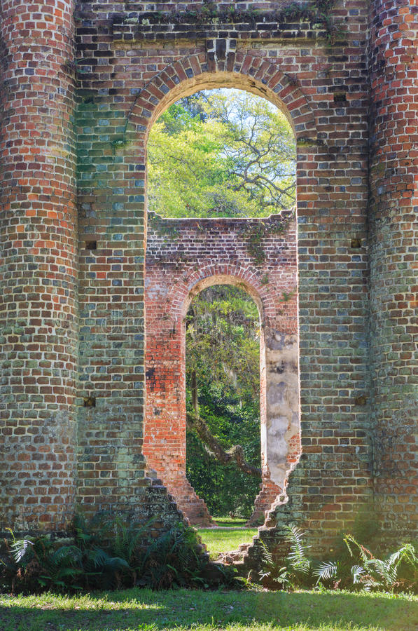 Ruins of Sheldon Church Yemassee South Carolina. Bricks and stone architecture left standing as the ruins of Sheldon Church in Yemassee, Beaufort County, South stock photography