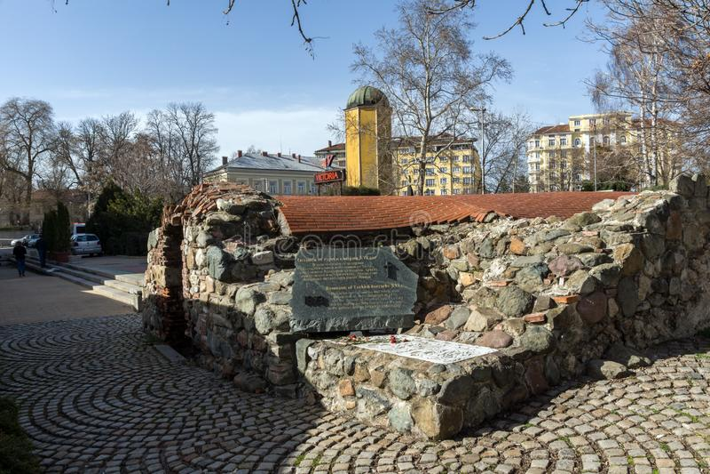 Ruins of sixteenth century Turkish barracks in Sofia, Bulgaria. SOFIA, BULGARIA - MARCH 17, 2018: Ruins of sixteenth century Turkish barracks in Sofia, Bulgaria royalty free stock photo