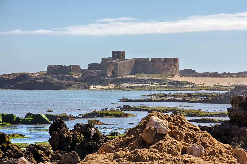 Ruins on the Small Island in Essaouira, Morocco royalty free stock photography