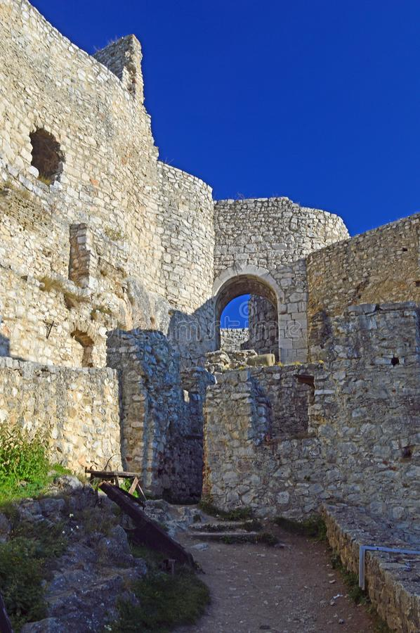 Spis Castle Spišský hrad inner walls view. The ruins of Spiš Castle in eastern Slovakia form one of the largest castle sites in Central Europe. The stock photo
