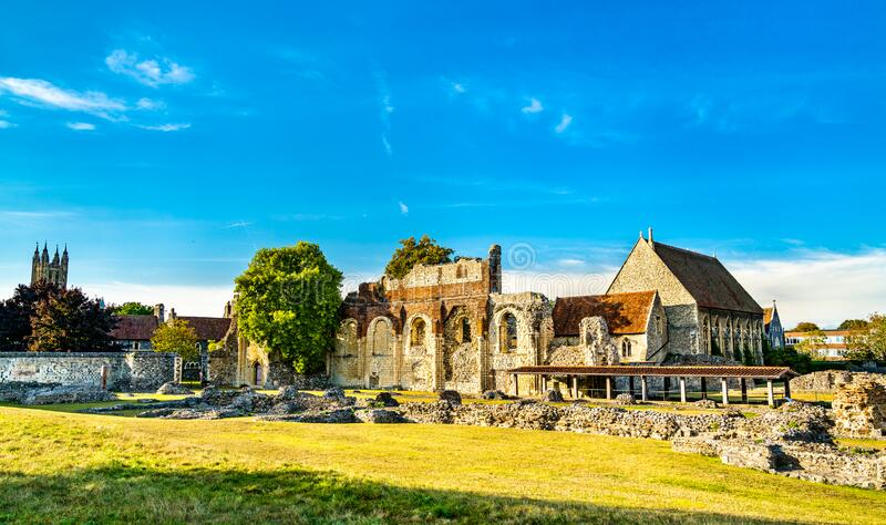 Ruins of St Augustine Abbey in Canterbury, England royalty free stock photos