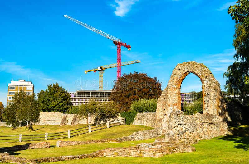 Ruins of St Augustine Abbey in Canterbury, England stock photo