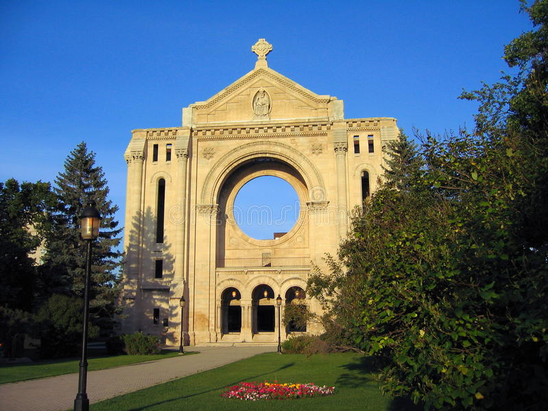 Ruins of St. Boniface Cathedral, Winnipeg, Manitoba, Canada. Evening light shines on the ruins of Saint Boniface Cathedral in Winnipeg, Manitoba, Canada which royalty free stock image