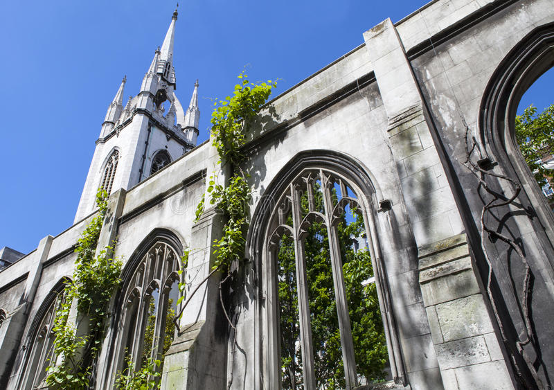 Ruins of St. Dunstan-in-the-East Church in London. The ruins of the historic St. Dunstan-in-the-East church in the City of London. The church was destroyed royalty free stock photography