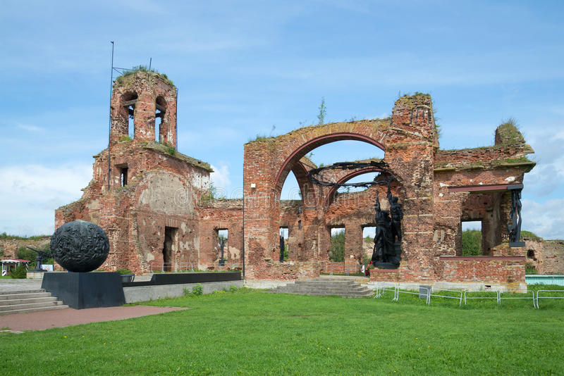 The ruins of St. John Cathedral is a memorial in memory of the defenders of the fortress of Oreshek. In the years of the Great Patriotic war royalty free stock image