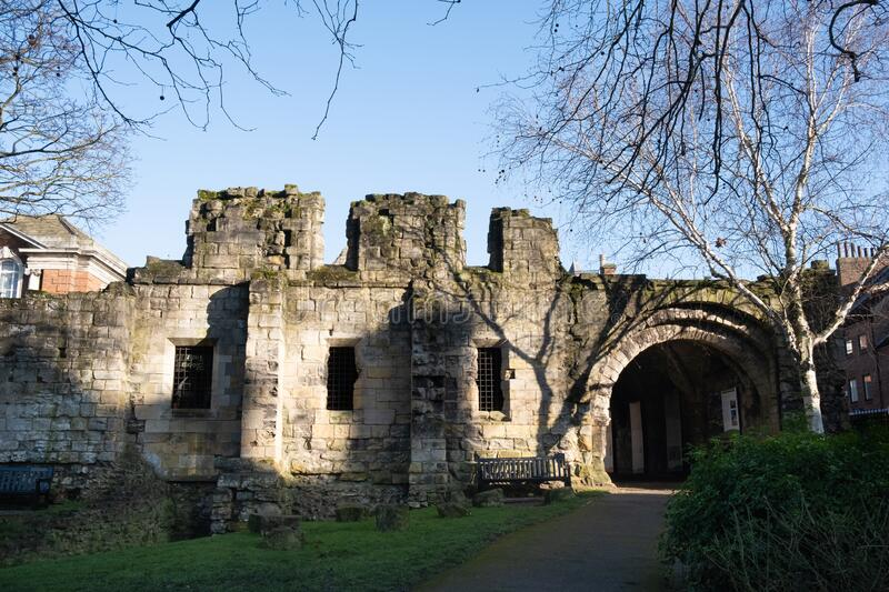 Ruins of St Leonards hospital, York, UK. The ruined medieval building is in the grounds of the Yorkshire museum and gardens. Ruins of St Leonards hospital, York stock images