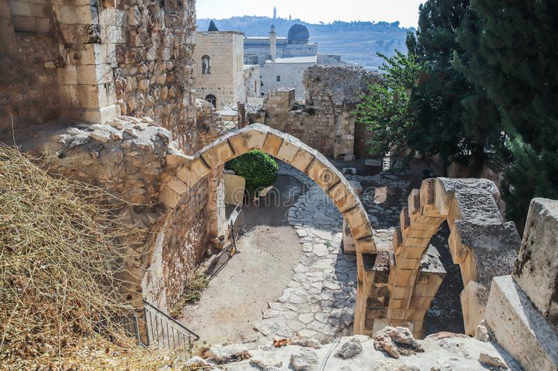 The ruins of the St. Mary Germanica hospital early morning in the Old City of Jerusalem, Israel stock photos