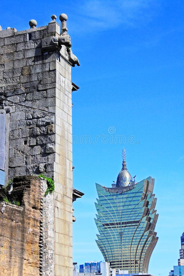 Ruins Of St. Paul And Cityscape, Macau, China, UNESCO World Heritage Site royalty free stock photo