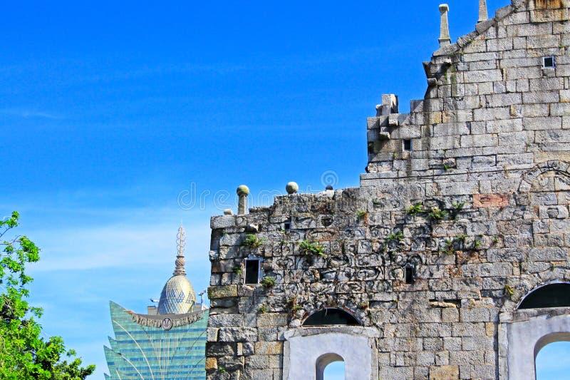 Ruins Of St. Paul And Cityscape, Macau, China, UNESCO World Heritage Site stock photo