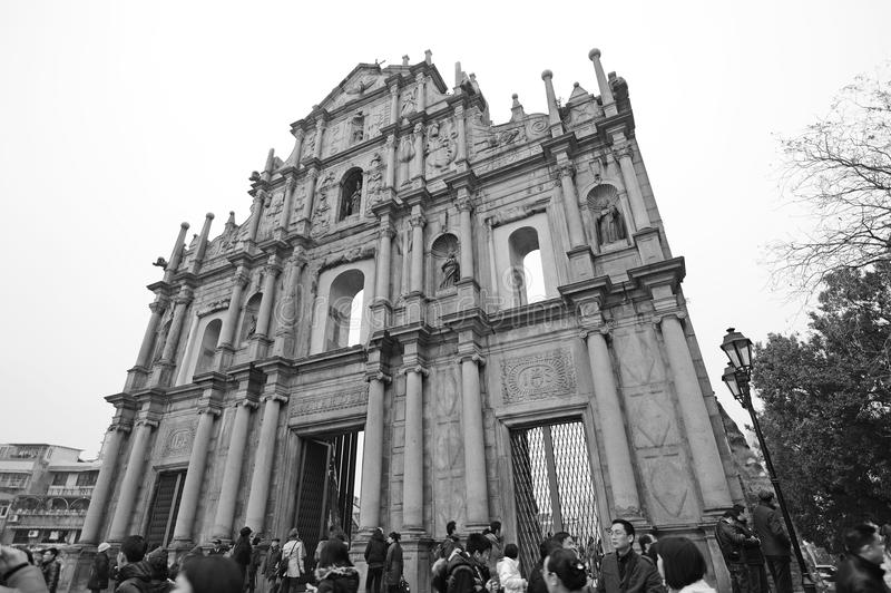 Ruins of St Paul in Macau in black and white. 2012 chinese spring festival at St Paul in Macau stock photos