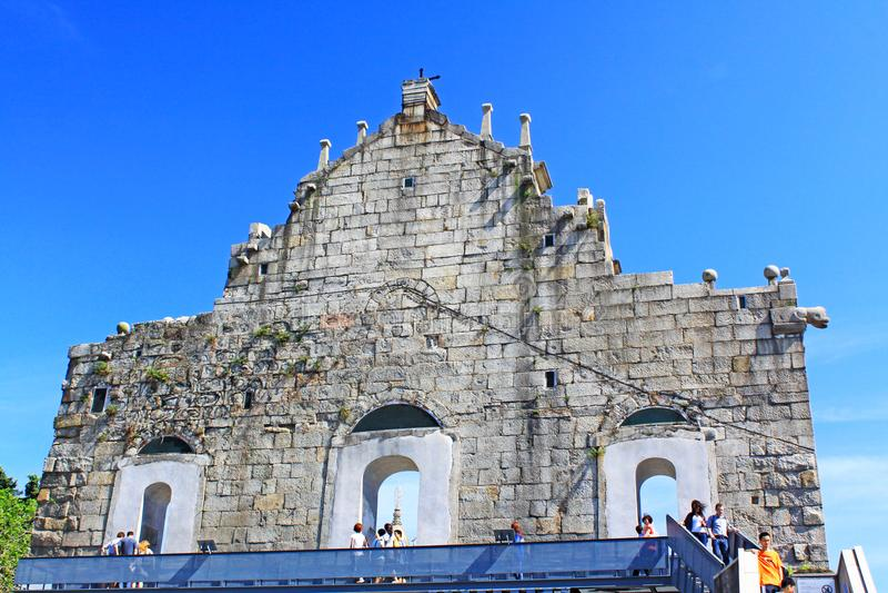 Ruins Of St. Paul, Macau, China, UNESCO World Heritage Site royalty free stock image