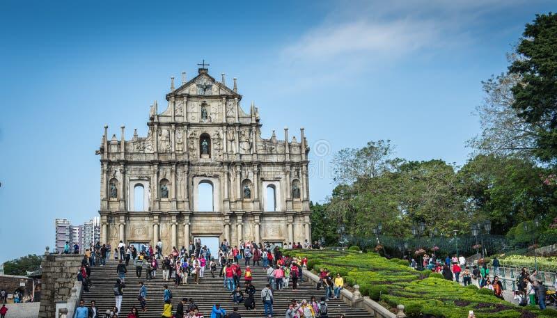 Ruins of St Paul Macau stock images