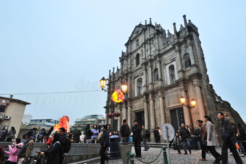 Ruins of St Paul in Macau at night. 2012 chinese spring festival at St Paul in Macau royalty free stock photography