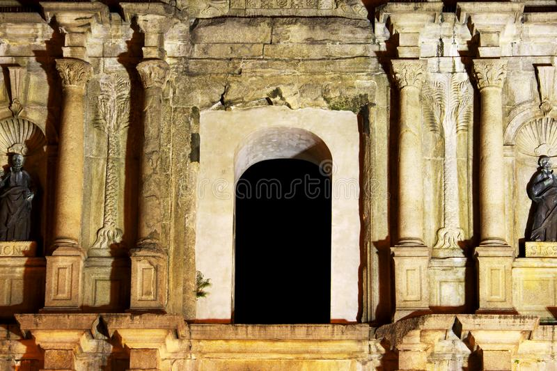 Ruins Of St. Paul, Macau At Night, China, UNESCO World Heritage Site stock images