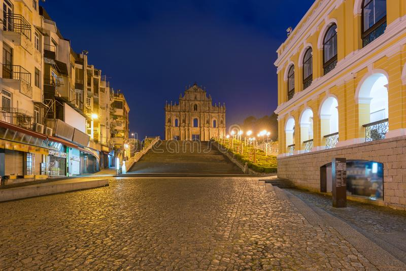 Ruins of St. Paul`s. Built from 1602 to 1640, one of Macau`s bes. T known landmarks. In 2005, they were officially listed as part of the Historic Centre of Macau royalty free stock image