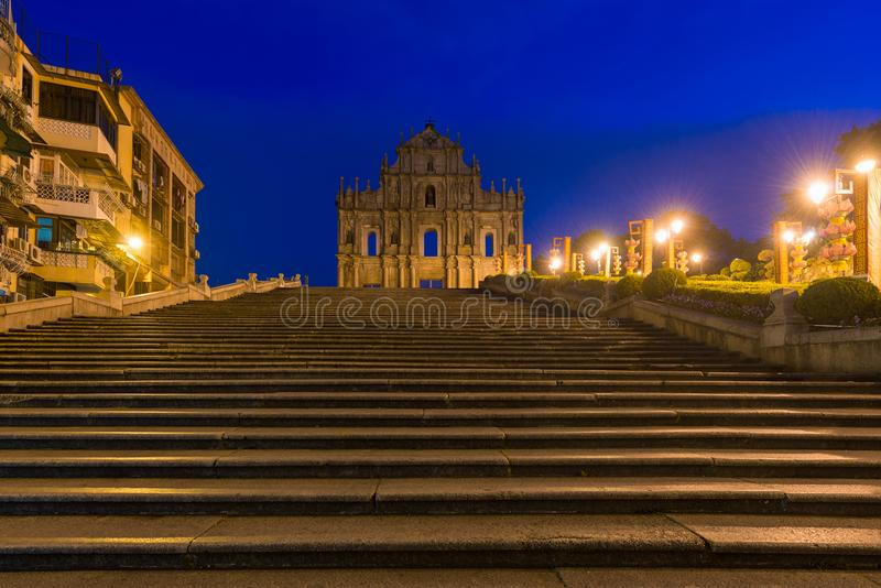 Ruins of St. Paul`s. Built from 1602 to 1640, one of Macau`s bes. T known landmarks. In 2005, they were officially listed as part of the Historic Centre of Macau royalty free stock images