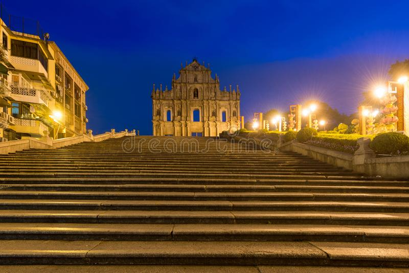 Ruins of St. Paul`s. Built from 1602 to 1640, one of Macau`s best known landmarks. In 2005, they were officially listed as part. Of the Historic Centre of Macau stock photos