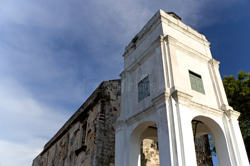 Ruins of St. Paul's Church. Originally built by the Portuguese in 1521 and sunsequently taken over by the Dutch and the British at the UNESCO World Heritage stock photography