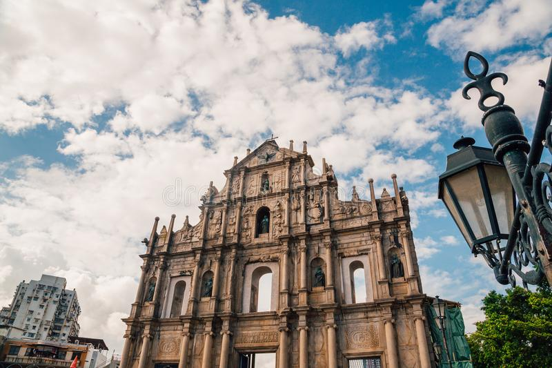 Ruins of St Paul`s Church in Macao royalty free stock photography