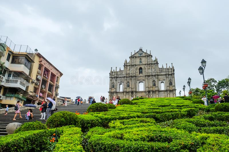 Ruins of St. Paul`s, Historic Centre of Macau. A UNESCO World Heritage Site. landmark and popular for tourist attractions in Macao. Macao, 4 June 2018 royalty free stock photo